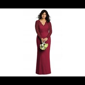 Dessy Bridesmaid Lace Long sleeve Gown Burgundy 12